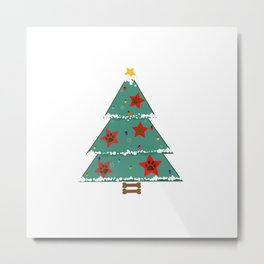 Christmas tree with red stars with paw prints Metal Print