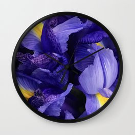 Purple Iris Flowers Close-Up Fine Art Photo Wall Clock