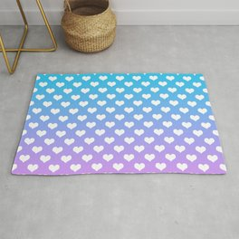 Blue Pink Gradient White Hearts Rug
