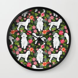 White Poodle floral hawaiian tropical dog breed dogs pet friendly pet art pattern Wall Clock