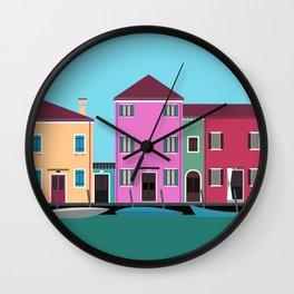 Burano, Italy Travel Poster Block Type Wall Clock
