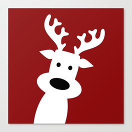 Reindeer on red background Canvas Print
