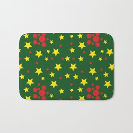 Yellow Stars and Red Balls Bath Mat