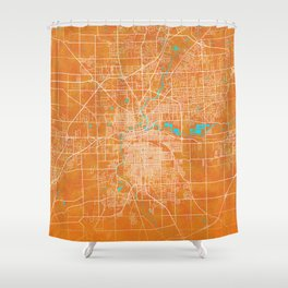 Fort Wayne, IN, USA, Gold, Blue, City, Map Shower Curtain