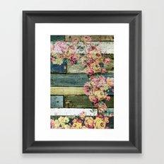 vintage roses on wood Framed Art Print