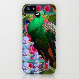 PINK ROSES & GREEN PEACOCK GARDEN FLORAL ART iPhone Case