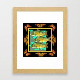 MODERN  MONARCH BUTTERFLIES FISH BLACK  AQUATIC  COLLAGE Framed Art Print