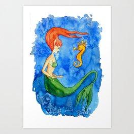 Sirenita y caballito de mar Art Print