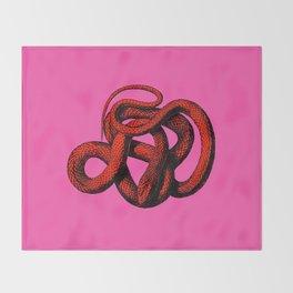 Snek 3 Snake Orange Pink Throw Blanket