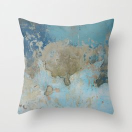 rough blue urban paint wall texture pattern Throw Pillow