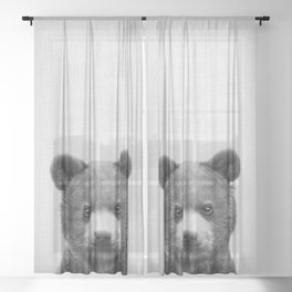 Baby Bear - Black & White Sheer Curtain
