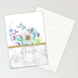 MINIMAL GOLD FLORAL MARBLE Stationery Cards