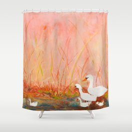 Gooses day out on the pond Shower Curtain