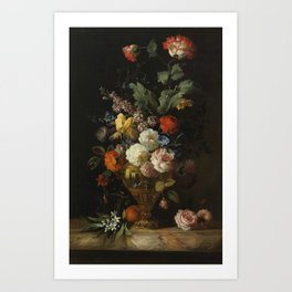 by the painter Jacob Bogdani, - A Still Life of Roses and other Flowers Art Print