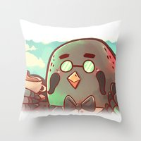animal crossing Throw Pillows featuring Animal Crossing Brewster! by SweetOwls