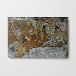 Cornish Headland Cracked Rock Texture with Lichen Metal Print