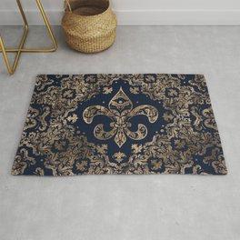 Luxury Fleur-de-lis Ornament - gold and dark blue Rug