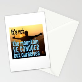 In the Mountain We Conquer Ourselves Climbing Hiking Club Is Calling Stationery Cards