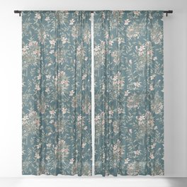 Small Floral Branch Sheer Curtain