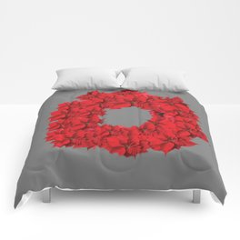 RED CHRISTMAS POINSETTIAS FLOWER WREATH DECORATIONS Comforters