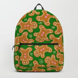 Gingerbread Men on Christmas Green Backpack