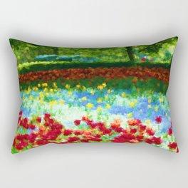 Colorful Impressionist Flower Field - II Rectangular Pillow