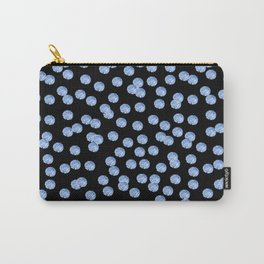 Blue Polka Dots on Black Pattern Carry-All Pouch