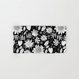 TROPICAL FLORAL BLACK & WHITE Hand & Bath Towel