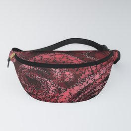 Red Roses Circle Mosaic Design Fanny Pack