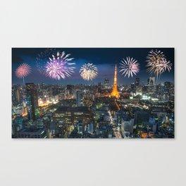 new year skyline in tokyo Canvas Print