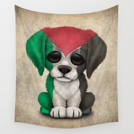 Cute Puppy Dog with flag of Palestine Wall Tapestry