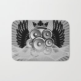 Abstract music illustration with wings Bath Mat