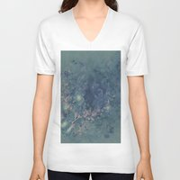 vintage floral V-neck T-shirts featuring Vintage floral by nicky2342