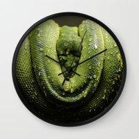monty python Wall Clocks featuring Python by Katherine Ridgley