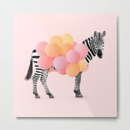PARTY ZEBRA Metal Print