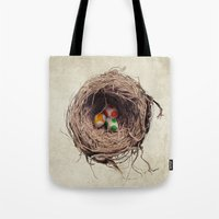 jazzberry Tote Bags featuring Yoshi Eggs by Eric Fan