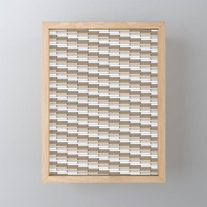 Staggered Oblong Rounded Lines Pattern Pantone Hazelnut Framed Mini Art Print