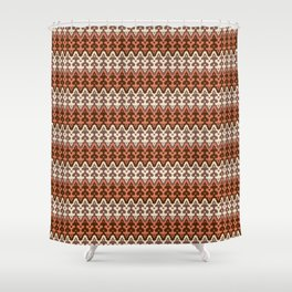 Moroccan Ikat Damask, Brown, Cream Taupe & Rust Shower Curtain