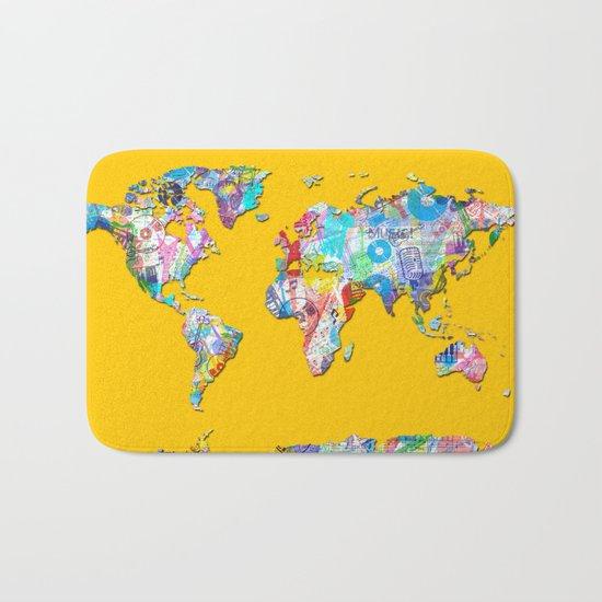 world map music art 1 Bath Mat