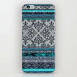 Teal, Aqua & Grey Vintage Bohemian Wallpaper Stripes iPhone Skin