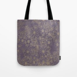 Modern elegant dark lavender watercolor gold floral Tote Bag