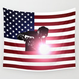 Welding: Welder & American Flag Wall Tapestry