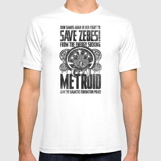 Save Zebes! Metroid Geek Art Vintage Poster T-shirt