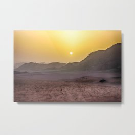 Sunset in Wadi Rum desert in Jordan Metal Print