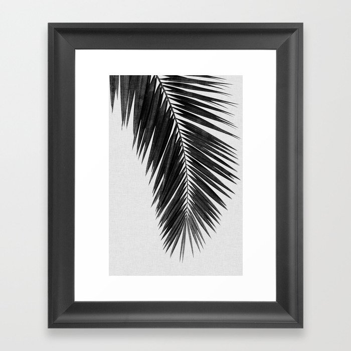 Palm leaf black white i framed art print