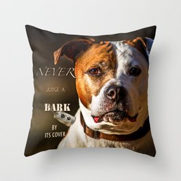 Pit Bull Rescue Poster Throw Pillow