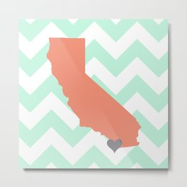 San Diego California in Coral on Mint Chevron Metal Print