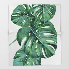 Monstera Throw Blanket