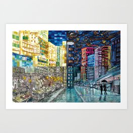 Hong Kong Night Street-Jordan Art Print