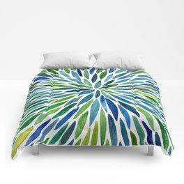 Watercolor Burst – Blue & Green Comforters